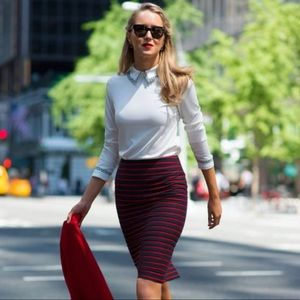 Ann Taylor striped pencil skirt red charcoal black